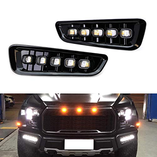 iJDMTOY White/Amber Switchback LED DRL Fog Light Kit For 2017-up Ford Raptor, 5-Lamp Assembly w/Turn Signal Feature ()