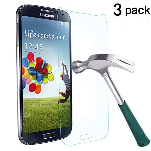 Galaxy S4 Screen Protector,TANTEK [Bubble-Free][HD-Clear][Anti-Scratch][Anti-Glare][Anti-Fingerprint] Premium Tempered Glass Screen Protector for Samsung Galaxy S4,-[3Pack]