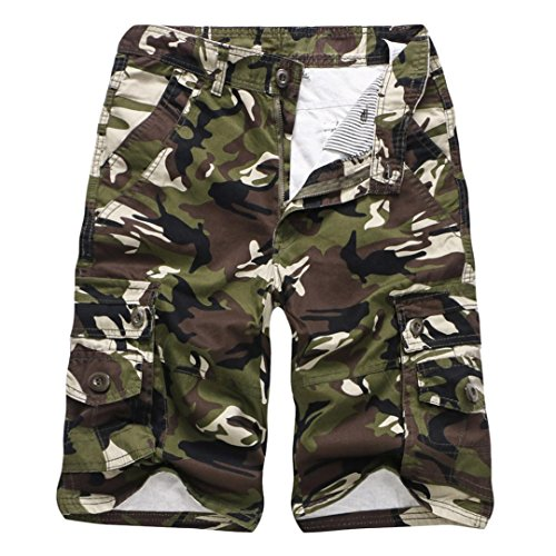 Realdo Men's Camouflage Shorts, Casual Outdoors Pocket Beach Work Trouser Cargo Pants(Army Green,32)
