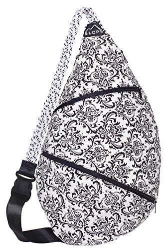 Slope Rope Sling Bag Crossbody Shoulder Backpack Everyday Women, Teens Bag - Black and White ()