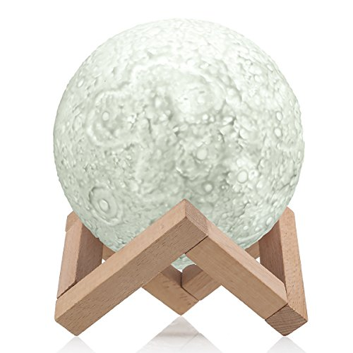 3D Moon Lamp,Greenclick Dimmable Night Light for Kids,3 Color Hangable Home Decorative Light with Touch Control,5.1Inch. (5.1inch) by GreenClick