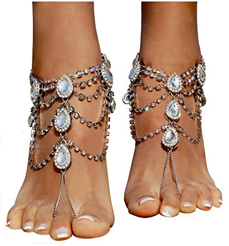 al Beach Wedding Foot Jewelry Barefoot Sandals Toe Ring Boho Anklet with Multi Tassel,Sliver_5 ()