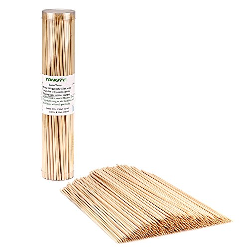 Premium Natural BBQ Bamboo Skewers for Shish Kabob, Grill, Appetizer, Fruit, Corn, Chocolate Fountain, Cocktail and More Food, More Size Choices 4/6/8/10/12(200 PCS)