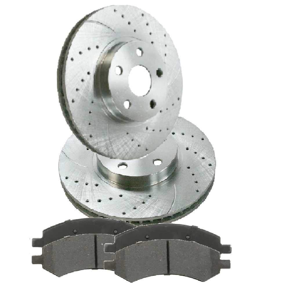 Prime Choice Auto Parts BRKPKG011877 Front Performance Silver Rotors and Metallic Pads Set