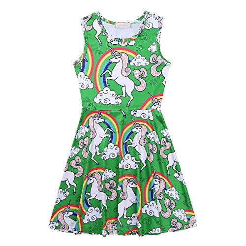 for Dress Girls Party Printed Cartoon Dresses TiaoBug Kids Casual Green Sleeveless Playwear 81zA1gxq