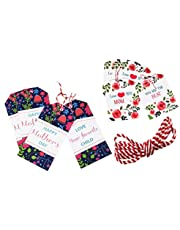 40 Pieces Mothers Day Gift Tags - Craft Tags, Gorgeous Cardstock Tags with 33 inch Strings for Mothers Birthday Gift Wrap
