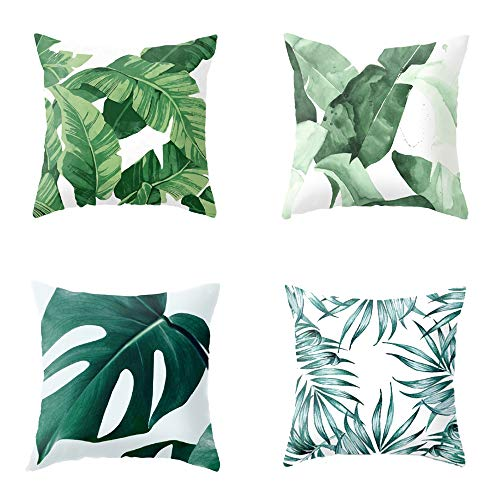 (Meihuida Pillow Cases 4 Pice Tropical Rainforest Cushion Cover Leaf Print Pillowcases Home Bed Room Decochrative Palm Tree Leaves 17.7 x 17.7 in-A)