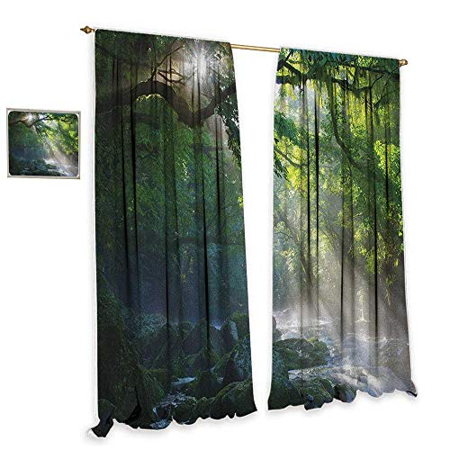 Rainforest Thermal Insulated Drapes for Kitchen/Bedroom Stream in the Jungle Stones under Shadows of Trees Sun Rays Mother Earth Theme Darkening and Thermal Insulating 55
