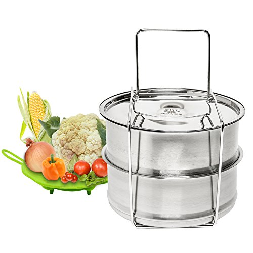 Stackable Steamer Insert Pans for Pressure Cooker or Instant Pot Accessories - Convenient Takes Work Out of Cooking - 6, 8 Qt Stainless Steel Food, Vegetable Steamer Pan, Bonuses Holder & Trivet - Aroma Egg Boiler
