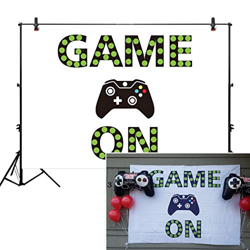 Allenjoy 7x5ft Video Game On Backdrop Gaming Background Girl Boy Birthday Party Supply for Dessert Candy Buffet Cake Table Decor Decoration Baby Shower Banner Photo Shoot Booth