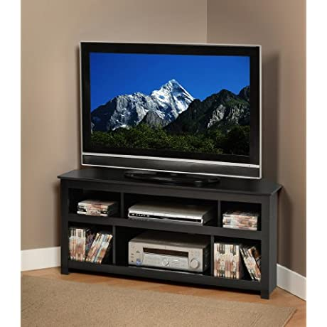 Black Vasari Corner Flat Panel Plasma LCD TV Console