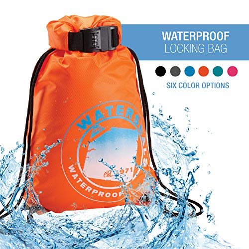 Lewis N. Clark WaterSeals Cinch Drawstring Backpack Women & Men Anti-Theft Combination Lock + Ripstop Waterproof Material to Protect Wallet iPhone + Valuables at The Beach Pool Sports Camping, Orange