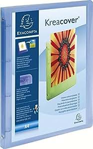 Exacompta 51962E - Carpeta 4 anillas, 15 mm polipropileno chromaline 5/10º krea cover, A4, azul transparente