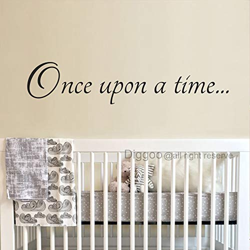 Diggoo Once Upon A Time Decal Fairytale Decal Baby Nursery Decor Girls Room Wall Decor Playroom Decor Vinyl Wall Quote (Black,10.5