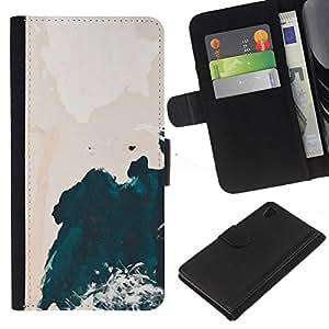 A-type (Watercolor Cliff Waves Shore) Colorida Impresión Funda Cuero Monedero Caja Bolsa Cubierta Caja Piel Card Slots Para Sony Xperia Z4v / Sony Xperia Z4 / E6508
