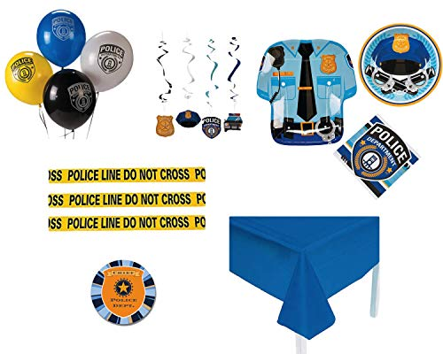 Police Party Supplies - Birthday Party Kit with Police Party Decorations, Police Party Plates and Napkins for 16