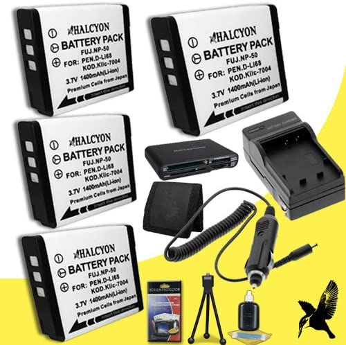 Q10 Optio S10 Q Memory Card Wallet Deluxe Starter Kit for Pentax Q7 Optio S12 Digital Cameras and Pentax D-LI68 Optio A36 Four Halcyon 1400 mAH Lithium Ion Replacement DLI68 Battery and Charger Kit Multi Card USB Reader