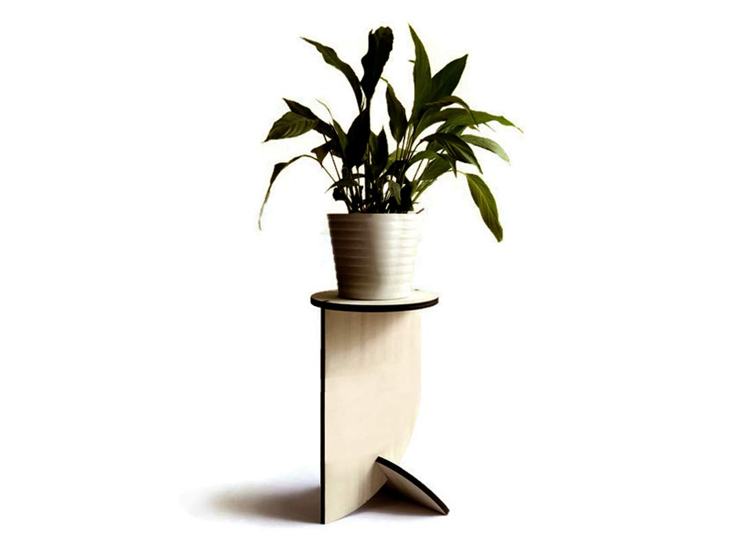 Round wooden pot plant stand alone for indoors in many colors as white Tall modern living room accent table Bathroom flowerpot stands Laser cut wood pedestal side tables planters holder by LOHN | Little Objects for Huge Needs
