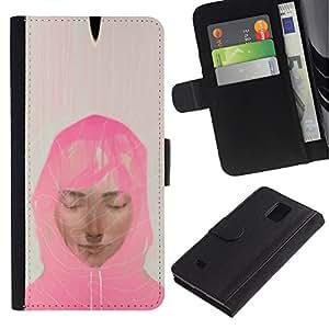 KLONGSHOP / Tirón de la caja Cartera de cuero con ranuras para tarjetas - Muslim Woman Pink Scarf Art Painting Portrait - Samsung Galaxy Note 4 SM-N910