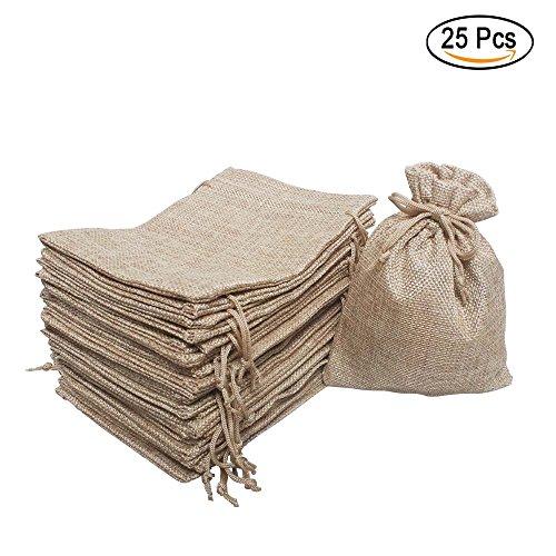 25 Pcs Burlap Bag with Drawstring Linen Burlap Pouches Gift Bags for Wedding Favors, DIY Craft, Present, Snacks 7