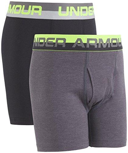 Under Armour Boys' Big 2 Pack Solid Cotton Boxer Briefs, Carbon/Black, YXL