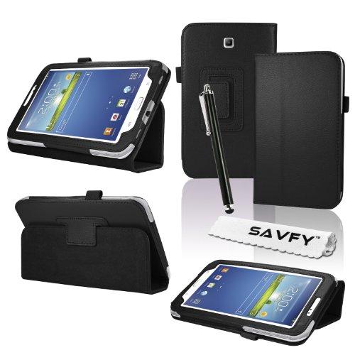 Tab 3 Case, Samsung Tab 3 7.0 Case, SAVFY® Folio Classic Leather Case Cover for Samsung Galaxy Tab 3 7.0 inch Tablet - Black