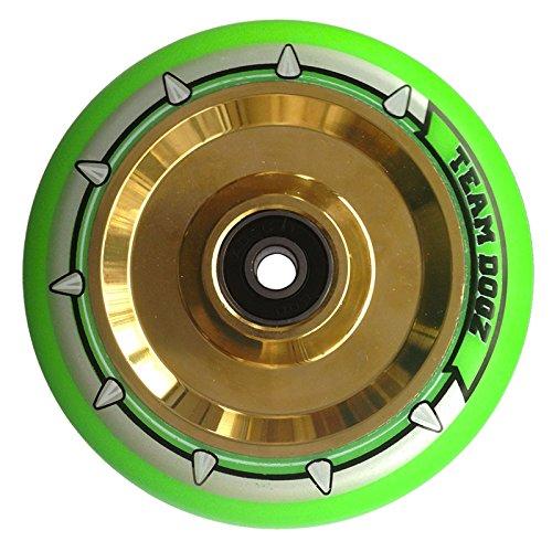 チームDogz 110 mm Hollow Core Stuntスクーターホイール – クロームゴールド/グリーン