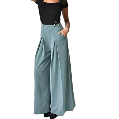 b210ab22086 Moonuy Chic Femmes Casual Taille Haute évasé Pantalon Casual Couleur Unie  Cordon De Serrage Haute Taille