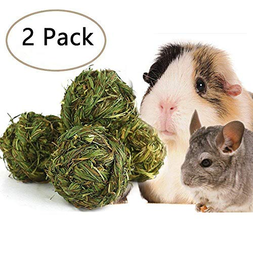 SZBOYU Natural Woven Timothy Grass Ball Small Pets Chew Toy for Rabbits Guinea Pigs Chinchillas Hamsters (2 Pack)