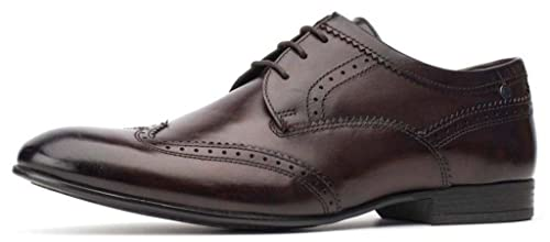 7dfc79691af50 Base London Purcell Washed Brown Leather Mens Brogues Formal Shoes ...