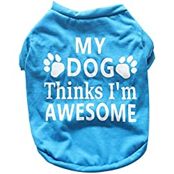 lriumpexplo Lovely Puppy Costume Summer Paw Letter Pattern Vest Sleeveless Clothes Soft Cotton Pet Dog Blue S