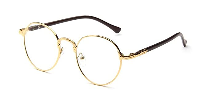 3640cc67921 Image Unavailable. Image not available for. Color  Vintage Oval Gold Eyeglass  Frame Man Women Plain Glass Clear Full-Rim Spectacles