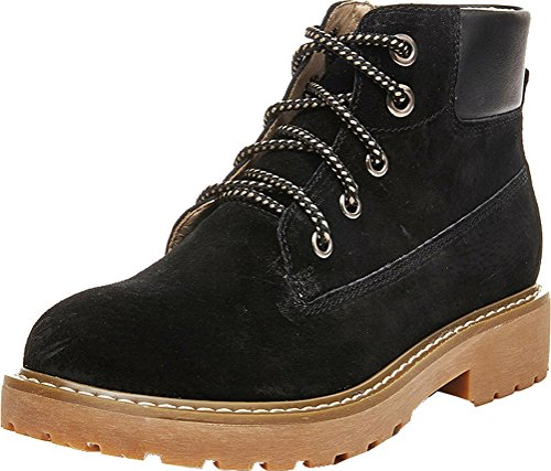 Abby 803-1 Womens Comfort Work Job Flat Cowhells Outsole Lace Up Leather Combat Martin Boots Black