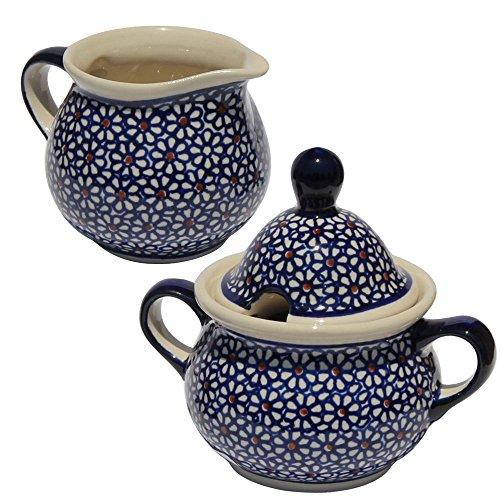 (Polish Pottery Sugar Bowl and Creamer From Zaklady Ceramiczne Boleslawiec #944/945-120 Classic Pattern)