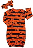 BELS Girls Babys Clothes Halloween Striped Pumpkin Swaddle Sack Sleepgown Coming Home Sleep Bag + Headband Outfit (Orange, 70/0-6M)
