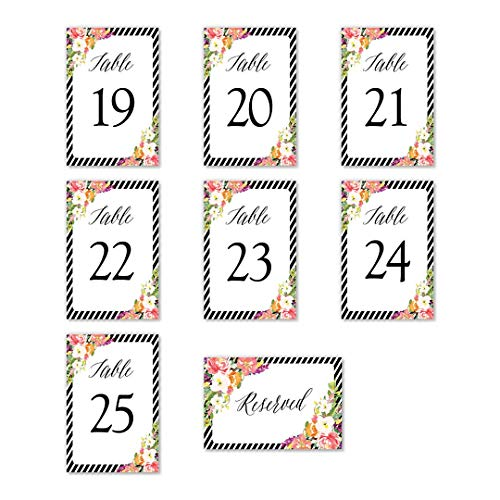 "Red & Pink Floral Table Numbers Striped Border 25 Count Single Sided 4"" x 6"" Set All Occasion Centerpiece Decorations Engagement Wedding Rehearsal Reception Banquet Catered Dinner DB Party Studio"
