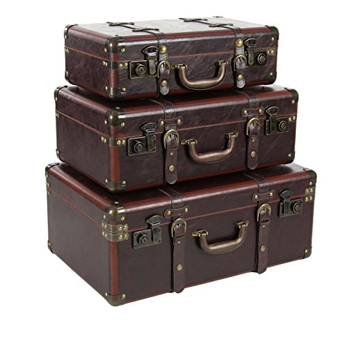 Deco 79 56976 Wood and Leather Vintage Suitcase Boxes (Set of 3), Brown