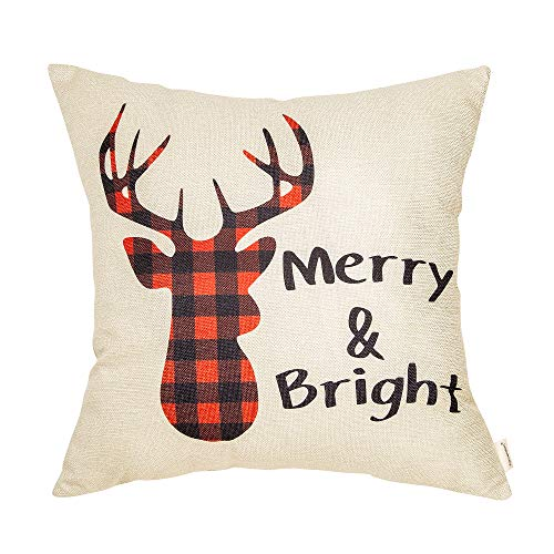 Fahrendom Christmas Sign Merry and Bright Buffalo Plaid Deer Seasonal Quote Winter Cotton Linen Home Decorative Throw Pillow Case Cushion Cover with Words for Sofa Couch 18 x 18 in (May Your Days Be Merry And Bright)