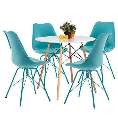 Cheap YYUIKY Modern Dining Chairs Set of 4 with PU Leather Upholstered Side Chairs (All Blue)