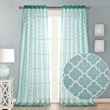 Dreaming Casa Decorative Sheer Curtain Panels for Bedroom, Living Room, Nursery, RV Windows 84Inches Long Semi Voile Drapes Rod Pocket Trellis 2 Panels (Tiffany Blue, 100'' Wx 84'' L)