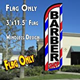 Barber Shop (Red/White/Blue) Windless Polyknit Feather Flag (3 x 11.5 feet)