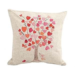 "Createforlife Home Decor Cotton Linen Square Pillowcase Love Heart Leaf Tree Red Printed Throw Pillow Sham Cushion Cover 18"" x 18"""