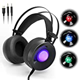 HotYet M170 Professional 3.5mm PC Stereo Gaming Headset Over-Ear Headphones Volume Control 4 Kinds of Breathing LED Lights