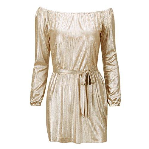over Dos Lache Femme paule Longues Robe Dor Casual Off Nues Shoulder Plain Petalum Tunique Uni Pull Off Manches paules Mini BUYxAwAqv