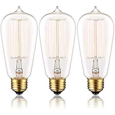 Lucero Edison Bulb 60W with Squirrel Cage Filament - ST58 Vintage Teardrop Design | Dimmable Retro Light Bulbs for Chandeliers, Retro Pendant Lights, Sconces, Antique Light Fixtures (3 Pack)