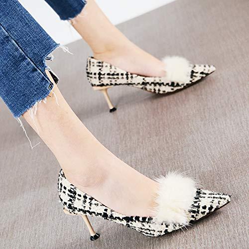 HRCxue Pumps Retro Plaid Flacher Mund professionelle Katze mit einzelnen Schuhen Mode Spitze Stiletto High Heels Frauen