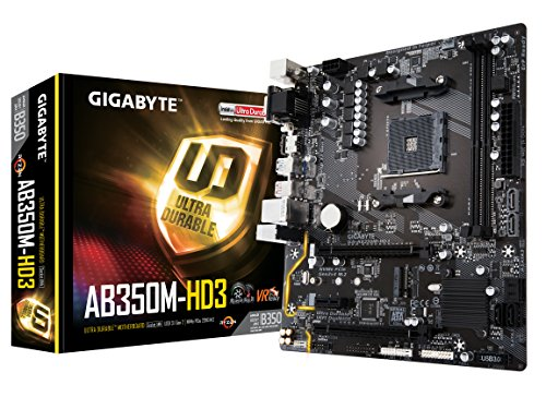 GIGABYTE GA-AB350M-HD3 AMD Ryzen AMD Ryzen AM4 B350 2 Way CrossFire HDMI M.2 SATA USB 3.1 Type-A Micro ATX DDR4 Motherboard by Gigabyte