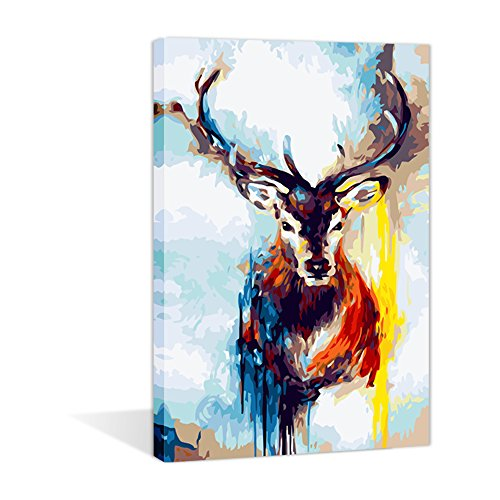 Paint by Numbers 16 x 20 inch Canvas Art Kits DIY Oil Painting for Kids/Students/Adults Beginner Wall Decorative Painting, Wapiti(Frameless)