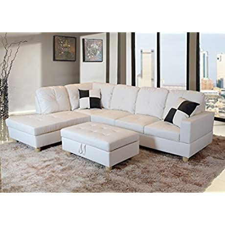 LifeStyle Faux Leather Right Facing Sectional Sofa Set With Storage Ottoman 2 Square Pillows White 3 Piece