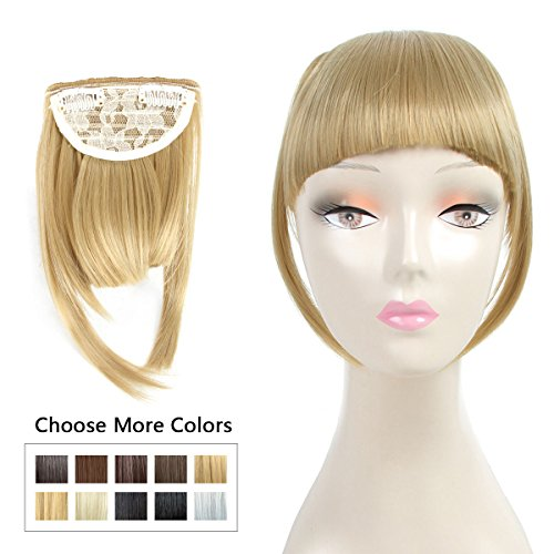 Beauty : Fashion Clip On Bangs Fringe Hair Extensions Synthetic Hairpieces Clips in Hair Bang False Short Flat Bangs Two Side (Clip in Bang, 24-27#)